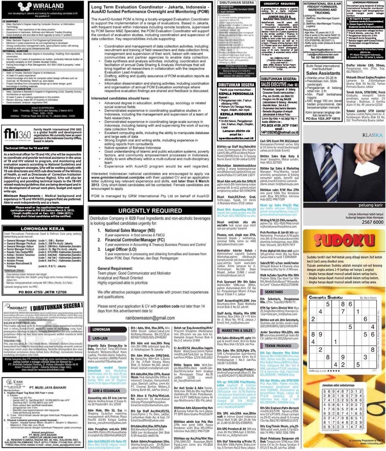 Koran Kompas Lowongan Pekerjaan Pasang Iklan Koran Kompas Poskota Dan Koran Seluruh Indonesia Lowongankerjakorankompasminggu24februari2013 Lowongan Kerja 8