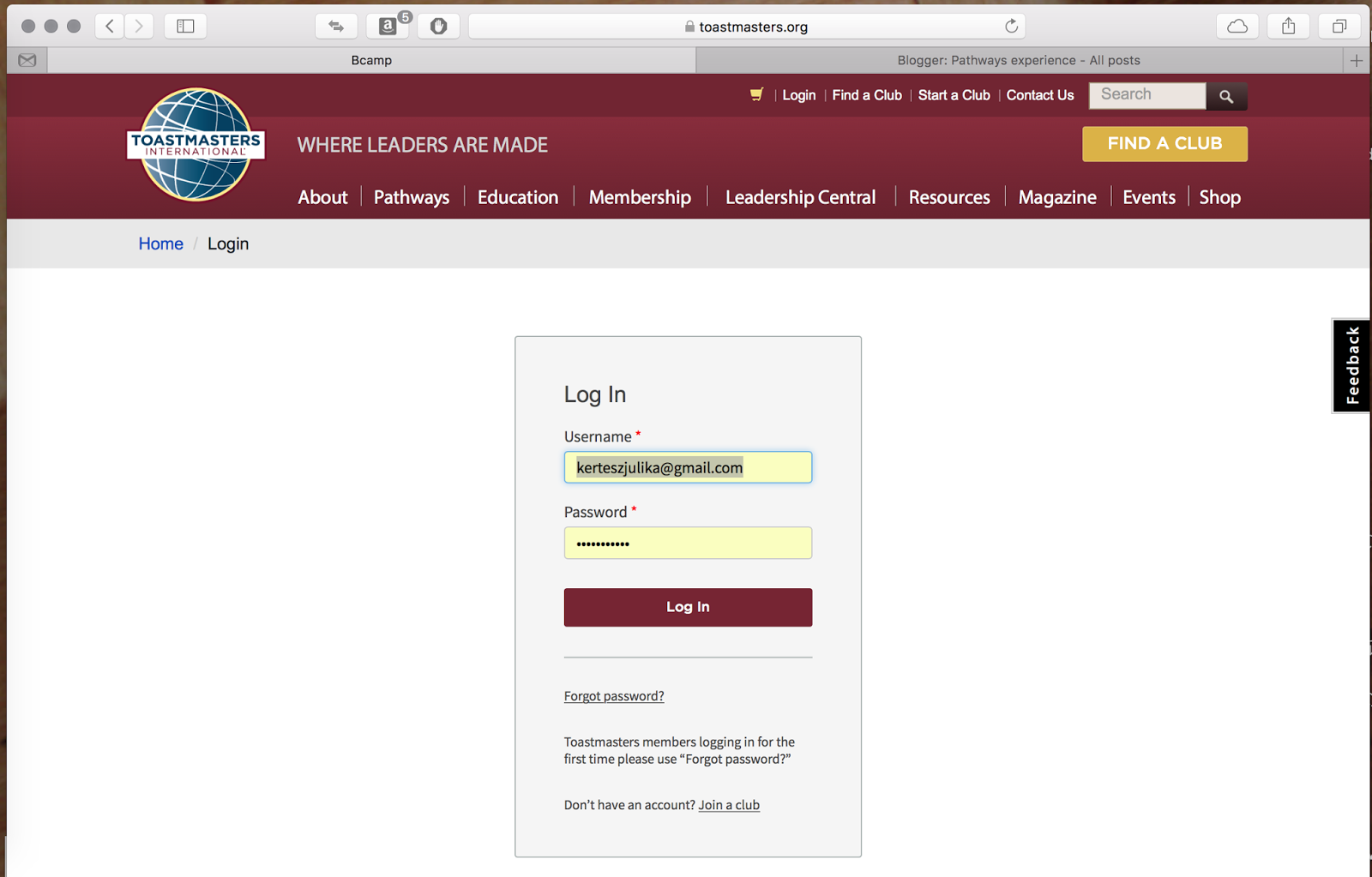 Pathways experience: Login to Toastmasters org and Sample