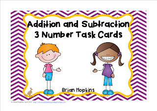 FREEBIE Adding and Subtracting 3 Numbers Task Cards