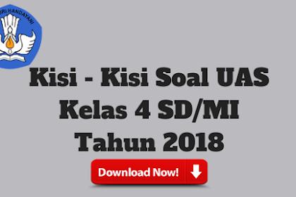 Kisi - Kisi Soal UAS Kelas 4 SD/MI Tahun 2018