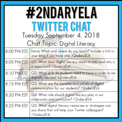 Join secondary English Language Arts teachers Tuesday evenings at 8 pm EST on Twitter. This week's chat will be about digital literacy.