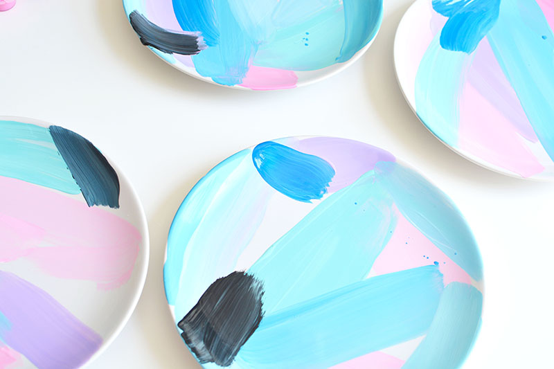 Diy abstract painted tableware burkatron for Diy ceramic plates