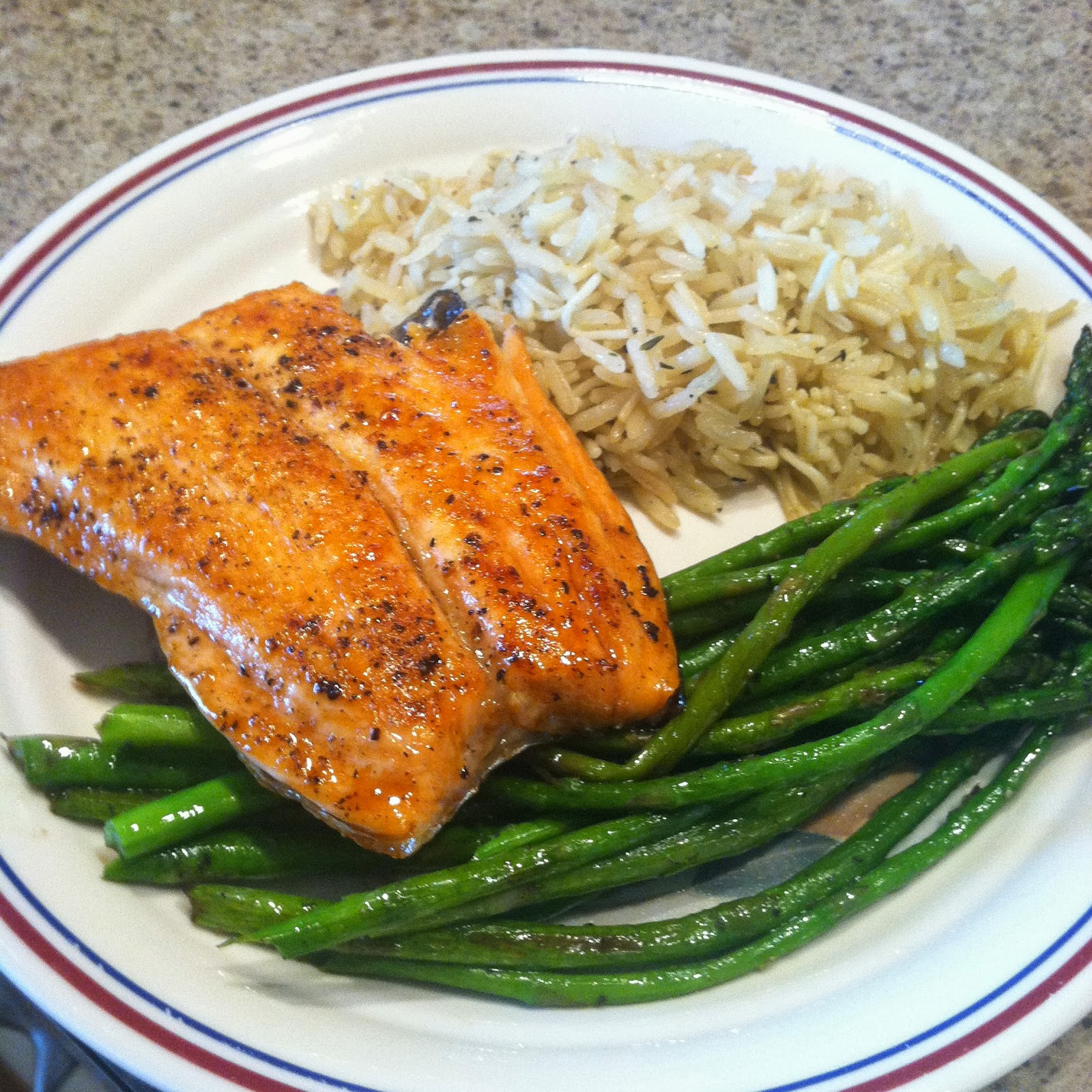Aunt B's Favorites: Asian Salmon, Rice Pilaf and Asparagus