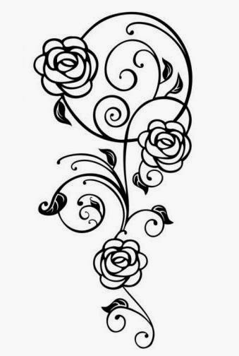 Roses and vine tattoo stencil