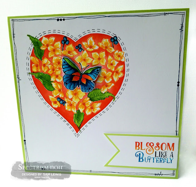 Hydrangea Heart Card by Sam Lewis AKA The Crippled Crafter featuring Spectrum Noir Aqua Markers