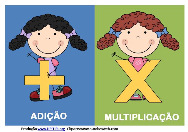 Cartazes com sinais adicão multiplicacão divisão subtracão e igualdade