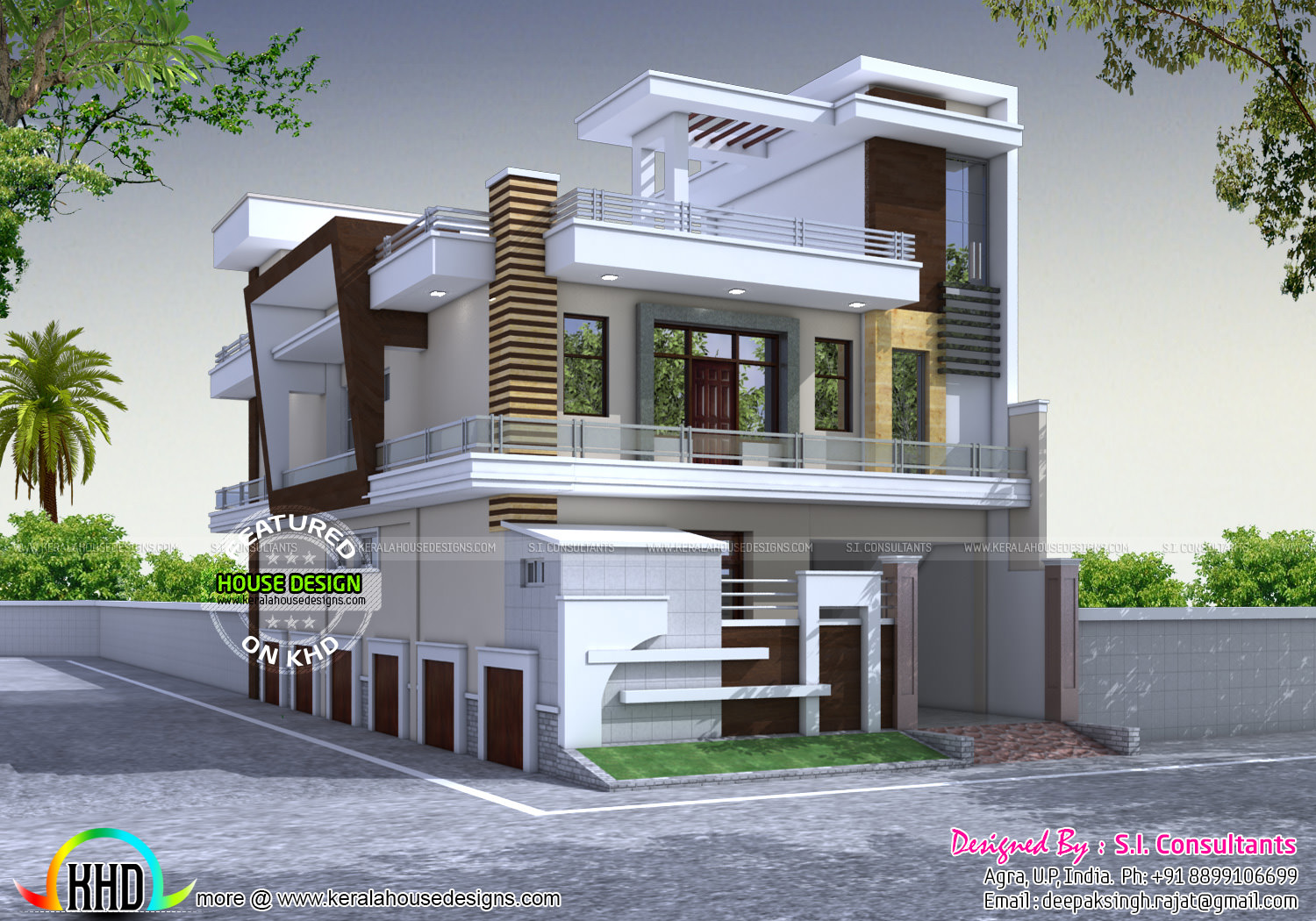 Decorative modern style 333 sq yd home kerala home for North indian house plans with photos
