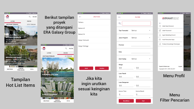 Tampilan Dashboard, Hot List, Project serta Filter Pencarian