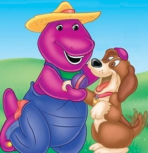 Dibujo de Barney y su perro Bingo a colores