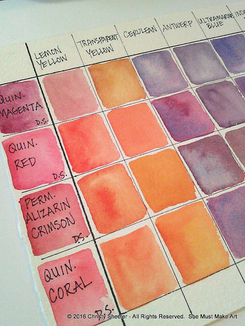 Watercolor mixing chart for cherry blossoms artworks.
