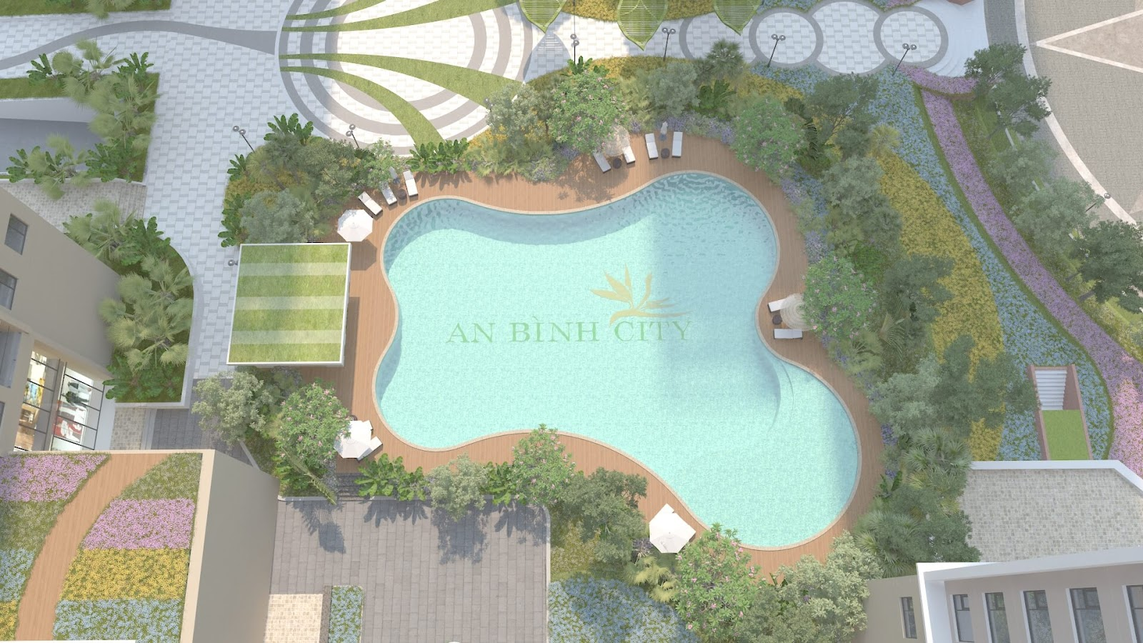 Bể bơi ngoài trời rộng lớn và cao cấp tại dự án chung cư An Bình City