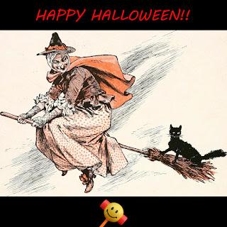 Feliz Halloween - Bruja volando en una escoba