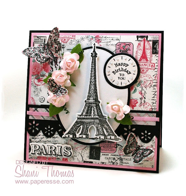 Vintage look Paris birthday card made with Sizzix French Flight stamp & die set, by Paperesse.