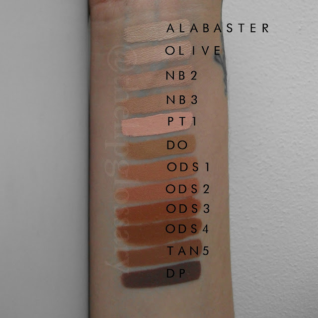 Kryolan Ultra Foundation Swatch Alabaster Olive NB2 NB3 PT1 DO ODS1 ODS2 ODS3 ODS4 TAN5 DP