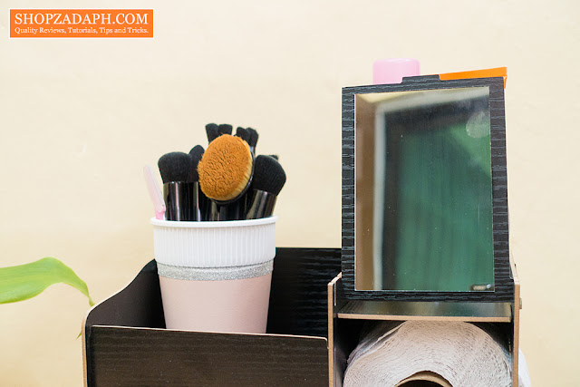 diy wooden makeup organizer with mirror