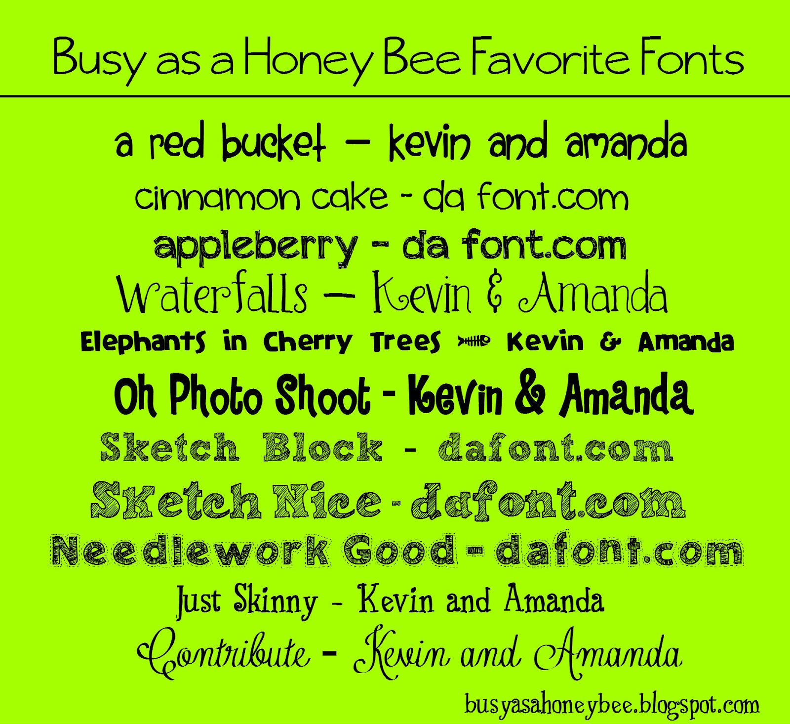 Busy as a Honey Bee: Fonts, fonts, fonts!