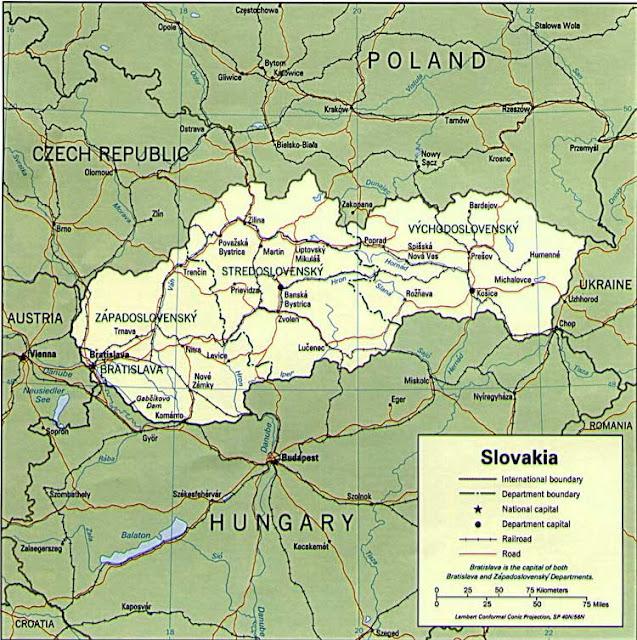 Gambar Peta politik Slovakia