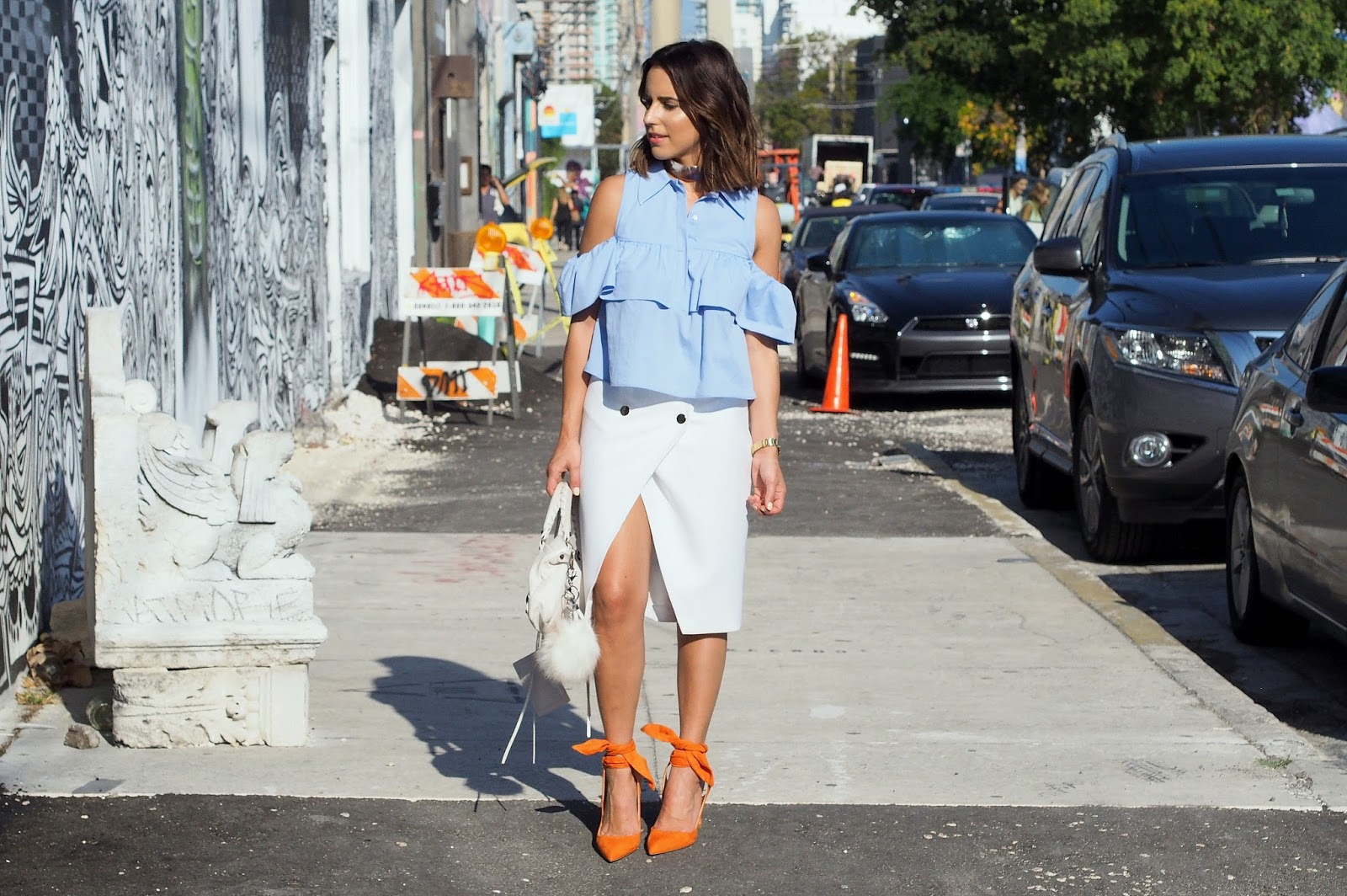 fashion-blogger-kelly-saks-zara-shoulder-blouse-orange-wrap-pumps