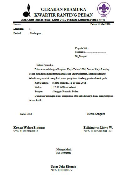 Yo Gak Contoh Surat Undangan Dewan Kerja Ranting Surat Undangan