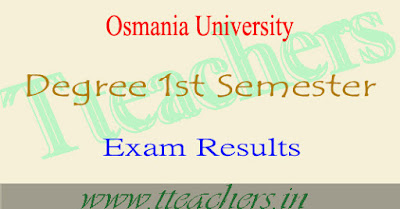 OU degree 1st sem results 2016-2017 1st year exams result date