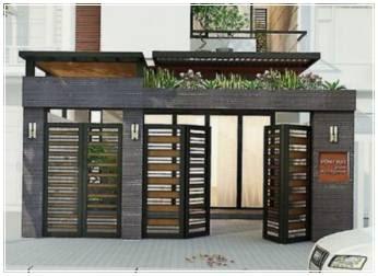 contoh pagar minimalis batu alam klasik