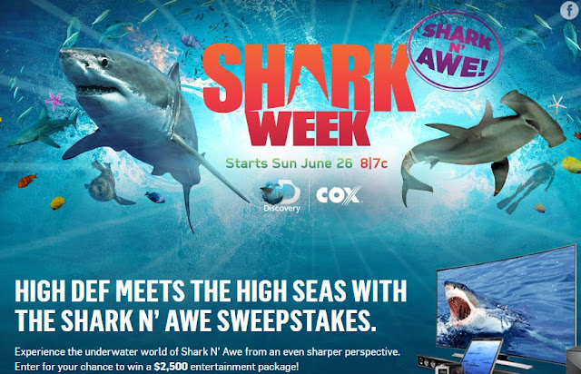 The Discovery Channel and Cox are celebrating Shark Week by offering you a chance to enter daily to win a whole house worth of electronics to make your home theater dreams come true!