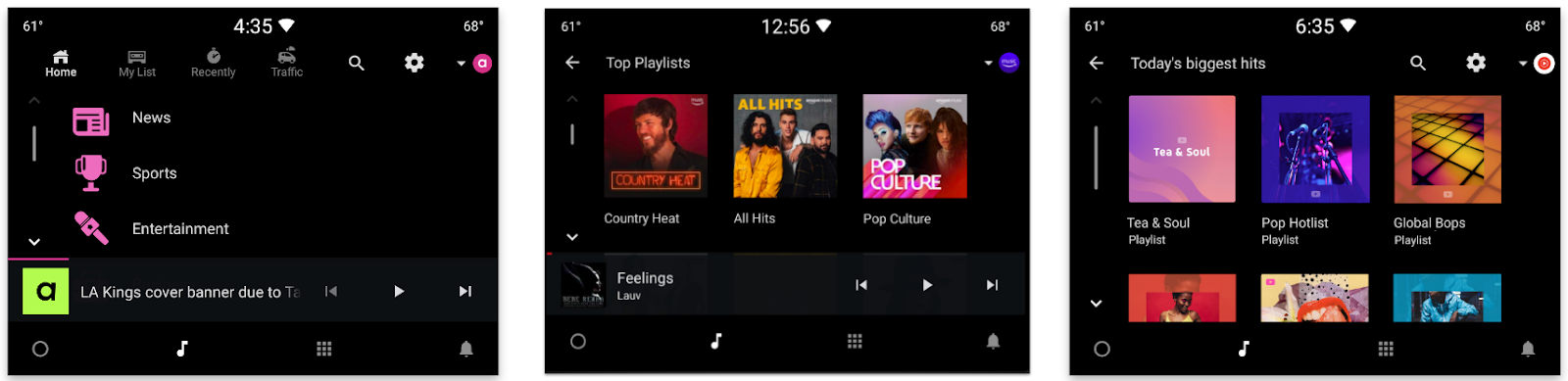 Audioburst, Amazon Music and YouTube Music running on the Android Automotive OS emulator