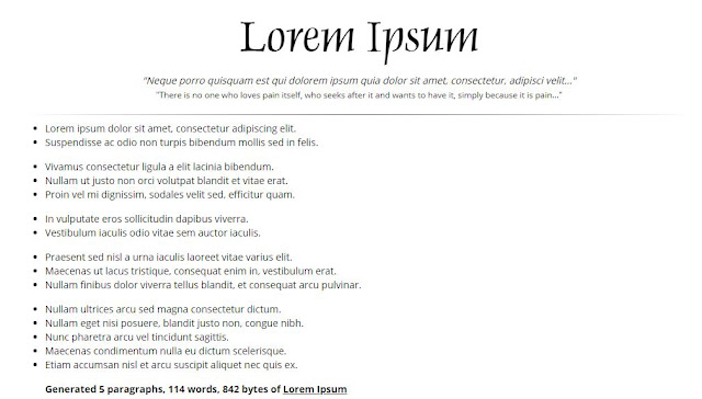 generated lorem ipsum lists