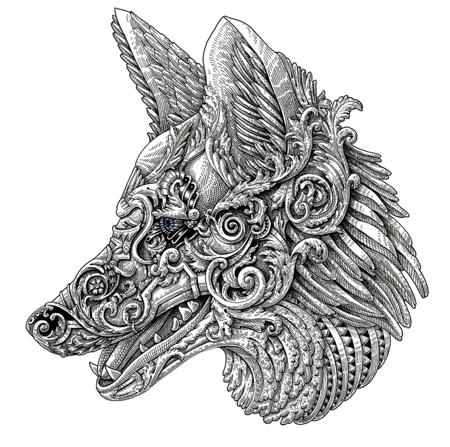 05-Coyote-Alex-Konahin-Ornate-Details-in-Animal-Drawings-www-designstack-co