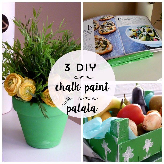 3 diy con chalk paint verde albahaca y una patata estampada. Atril , macetero y caja de frutas pintados