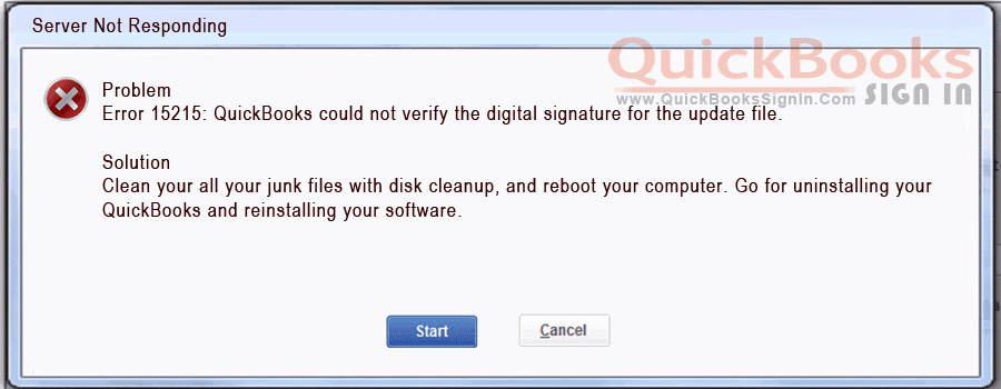 QuickBooks Error 15215 Server Not Responding |