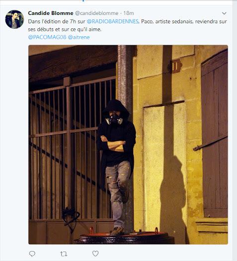 second tweet Candide journaliste radio 8 sur Paco street artiste sedanais