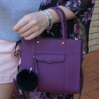 Rebecca Minkoff mini MAB tote in plum with faux fur pom pom charm | awayfromtheblue