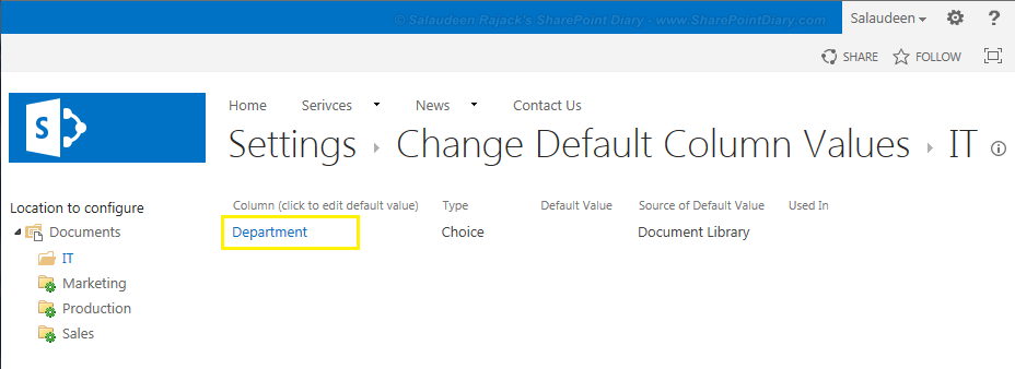 Set Column default value settings in SharePoint 2010