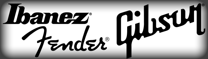 Ibanez, Fender, and Gibson logos