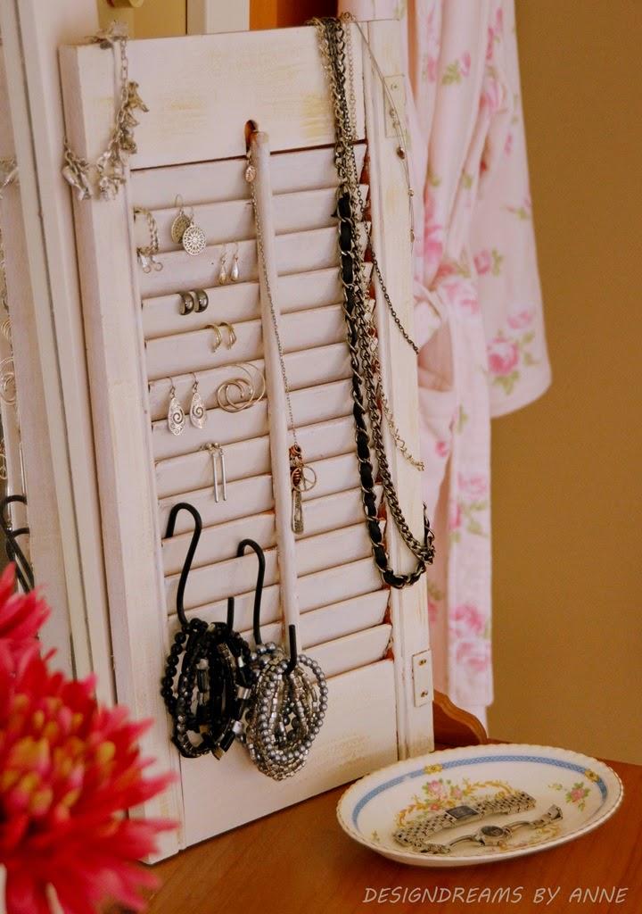 repurpose old shutters - jewelry organizer - DesignDreamsbyAnne.com