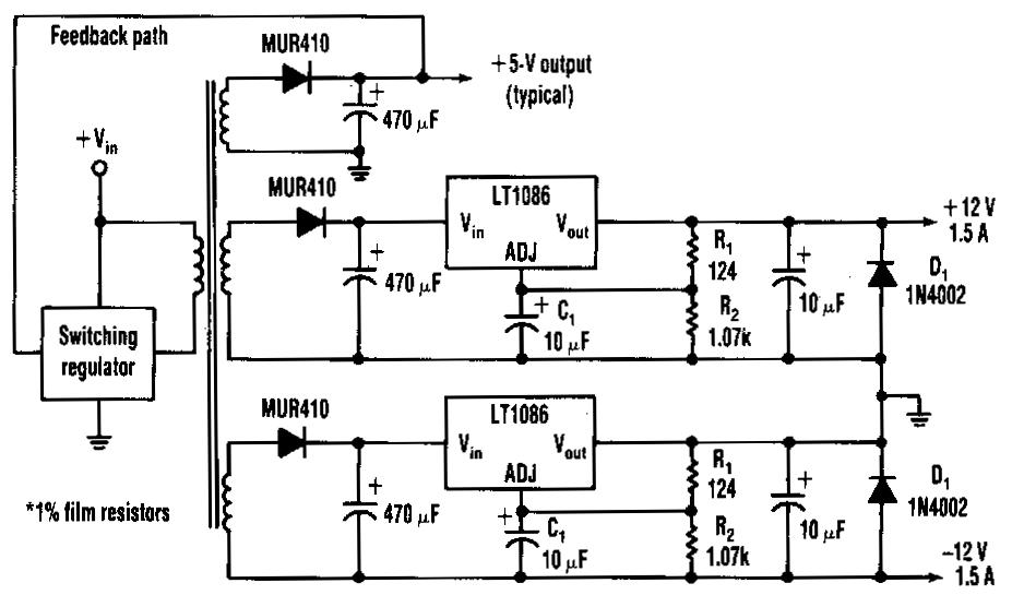 Systematic Negative Voltage Regulator Circuit Diagram