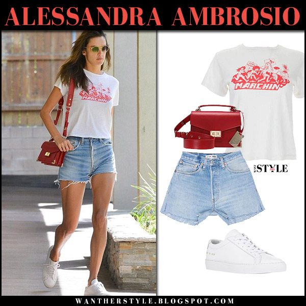 Alessandra Ambrosio in white tee redone, denim shorts and white sneakers common projects street style october 17 2017