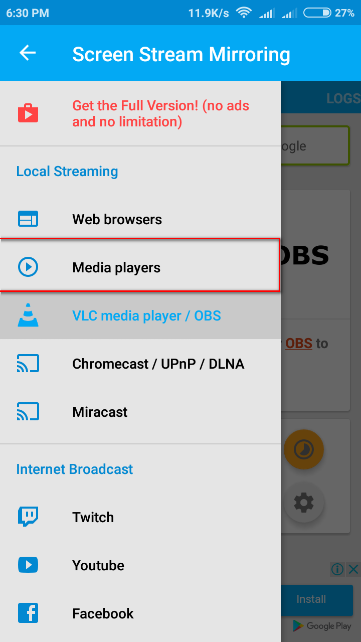 How to Screen Stream in VLC media Player Locally from Android
