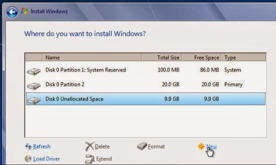 instalare windows 7 creearea unei noi partitii D: