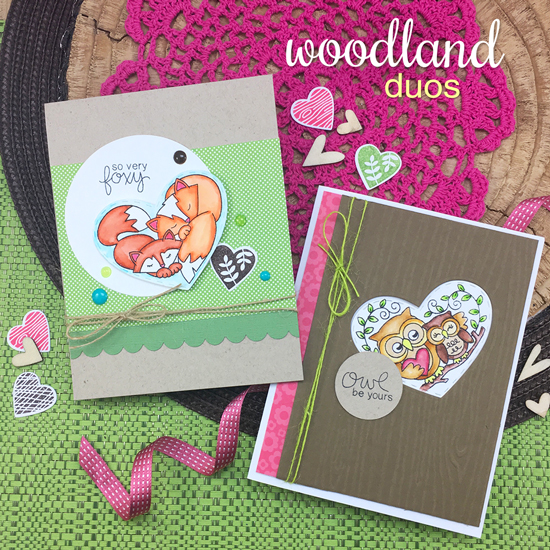Fox and Owl love Cards by Jennifer Jackson | Woodland Duos stamp set by Newton's Nook Designs #newtonsnook
