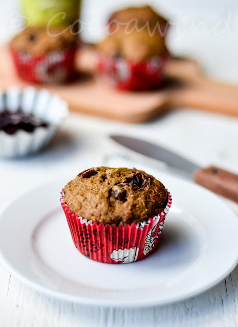 Whole Wheat Orange Cranberry Muffins (Oil-free/Butterless)