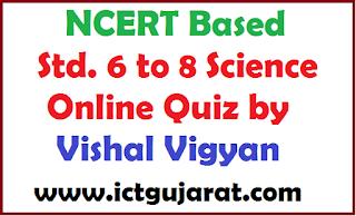 NCERT Based STD 6 to 8 Science Online Quiz by Vishal Vigyan