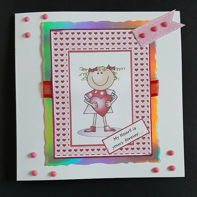My heart is yours forever... 6in square Valentine's Day card