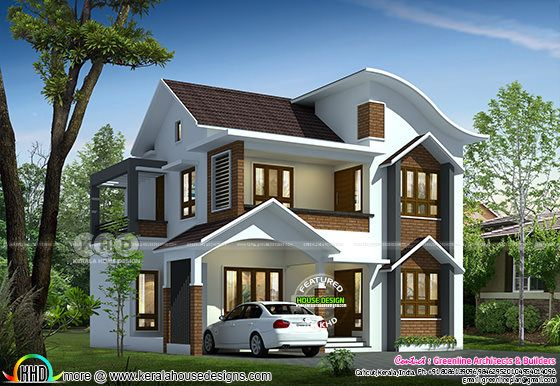Wavy roof mix Kerala home design