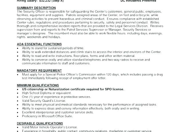 Security Guard Resume Example Officer Examples Beautiful Design Entry Level