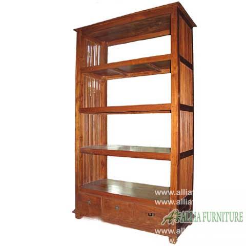 rak pajangan kayu jati model bambu