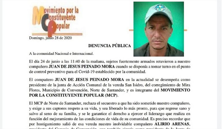 La ONU alerta por desaparición de líder comunal en el Catatumbo