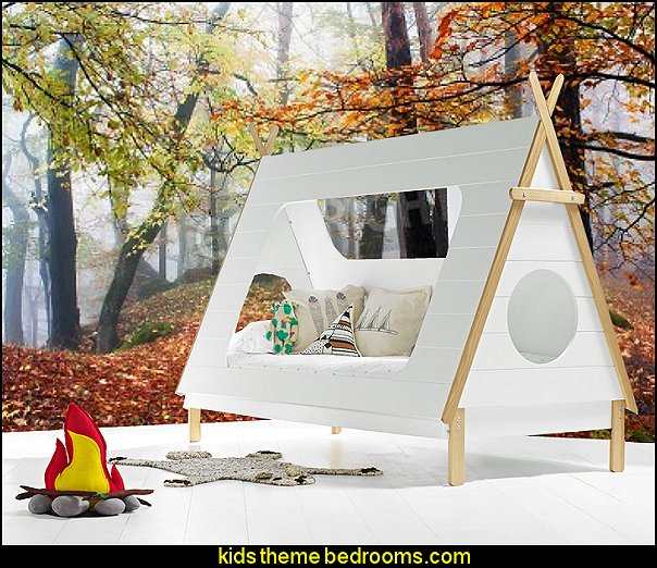 kids teepee cabin bed log cabin - rustic style decorating - Cabin decor - bear decor - camping in the northwoods style  - Antler decor - log cabin boys theme bedroom - Cabin Bedding - Rustic Bedding - rustic furniture - cedar beds - log beds - LOG CABIN DECORATING IDEAS - Swiss chalet ski lodge murals - camping room decor - hunting and fishing theme decorating