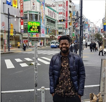 Man Flies Nigerian Comedian, Basketmouth to Japan as Birthday Gift to His Wife (Photos)